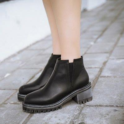 短靴 粗跟靴子-歐美時尚平底側拉鍊女馬丁靴2色73is34[獨家進口][巴黎精品]