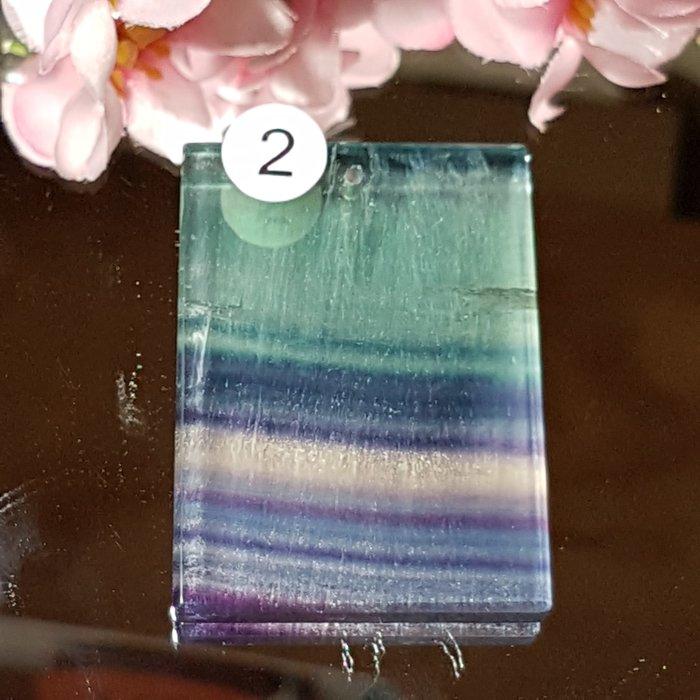 二姐的店 螢石 平安無事牌 項鍊墜飾 天然艷麗彩虹色 ~b634-2◎特價
