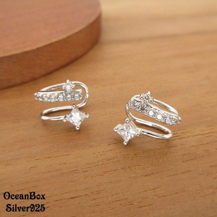 ☆§海洋盒子§☆流星鋯石耳骨夾.夾式耳環 OB7705 (Q)《925純銀+外鍍專櫃級正白K》