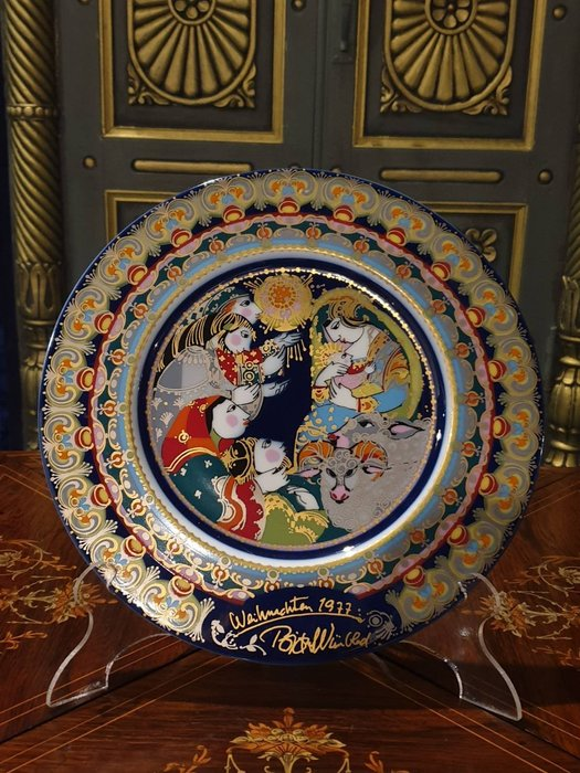 【卡卡頌 歐洲古董】1977 德國 Rosenthal  羅森泰 聖誕紀念 手工 瓷盤  牧羊人的禮讚p1894 ✬
