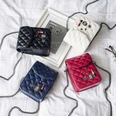 琳達購物中心-韓國東大門代購-時尚簡約百搭菱格包立體圖案手機小包單肩小包斜背小包