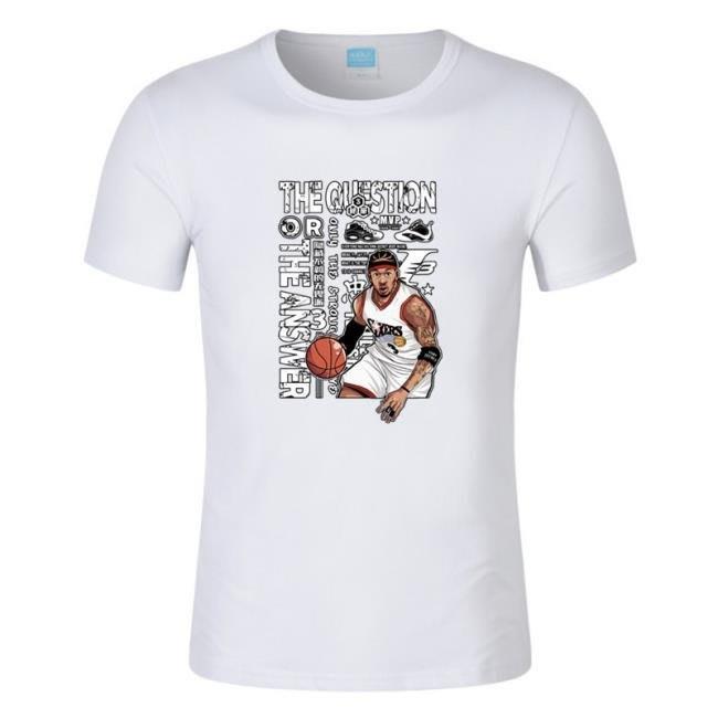 男士籃球運動T恤衫 答案艾佛森印花圓領短袖T恤  town