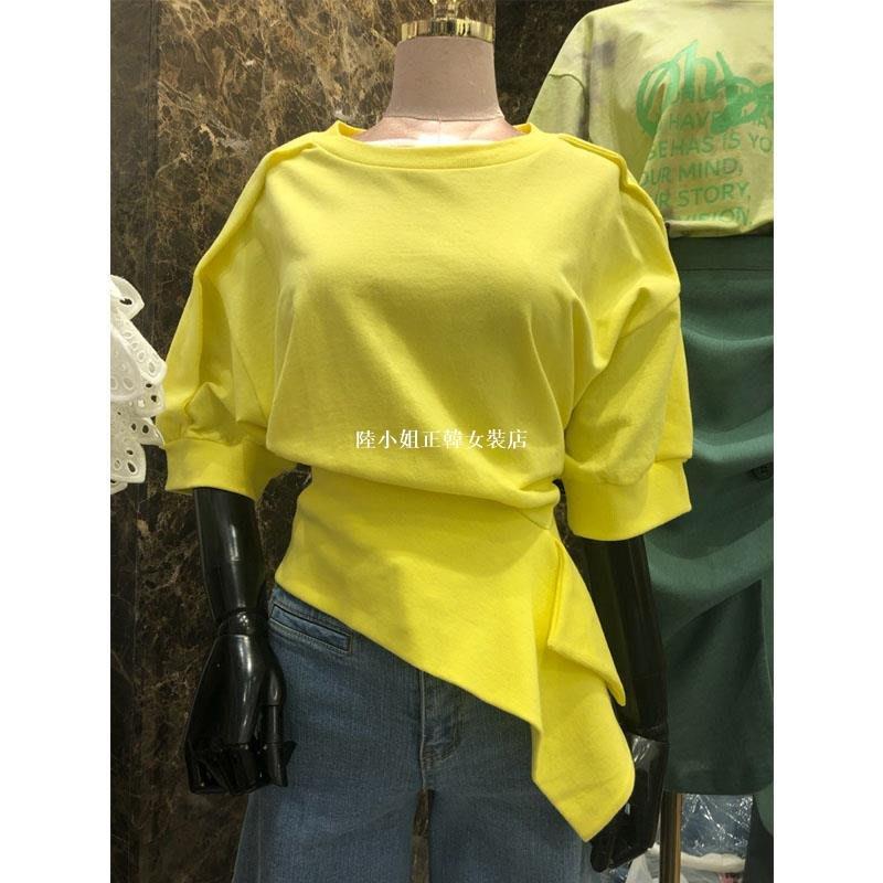陸小姐正韓女裝店韓國東大門時尚不規則下擺T恤女2020春夏新款百搭寬松收腰蝙蝠衫