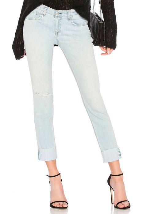 ◎美國代買◎Rag&Bone/Jean dre反摺褲口微刷破淺藍白刷色九分牛仔褲