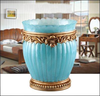 歐式古典風 立體藍色金邊圓形置物桶 波麗製造型花邊描金垃圾桶紙簍收納桶花桶花器【歐舍傢居】