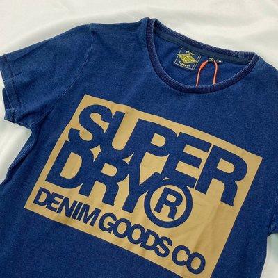 衝評 8384 FL3 專屬徽標 極度乾燥 深藍 圓領 純棉 男款 短袖 短T T恤 superdry