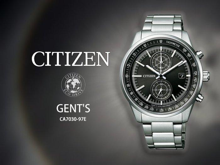 【時間道】CITIZEN 星辰 GENT'S紳士兩眼光能腕錶/黑面鋼帶(CA7030-97E)免運費