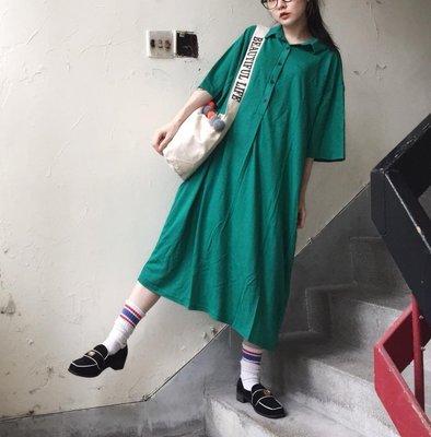 SeyeS NYLON古著簡約自然風五分袖polo領洋裝