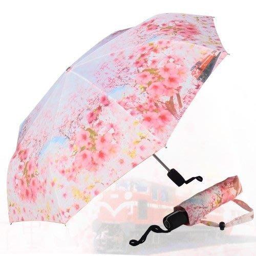 櫻花盛開(防暴衝)自動三折傘+登山傘