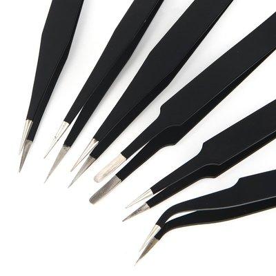 防靜電小鑷子不銹鋼尖彎頭燕窩挑毛工具長攝子鉗塑料手機電子維修【每個規格價格不同】