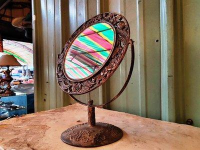 { Ruminant 慕名古物 } 黃銅簍空浮雕玫瑰古老鏡子30cm/歐洲化妝檯鏡子