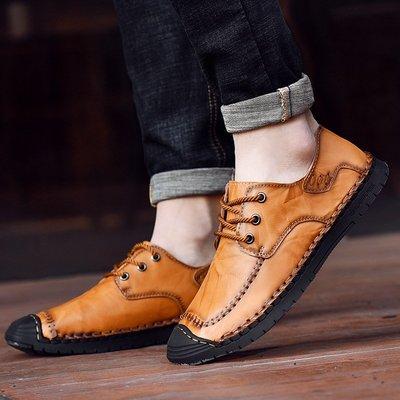 【時尚先生男裝】大碼男鞋大碼男鞋2020休閑鞋真皮皮鞋英倫潮流牛皮風戶外手工shoes men 2005240542