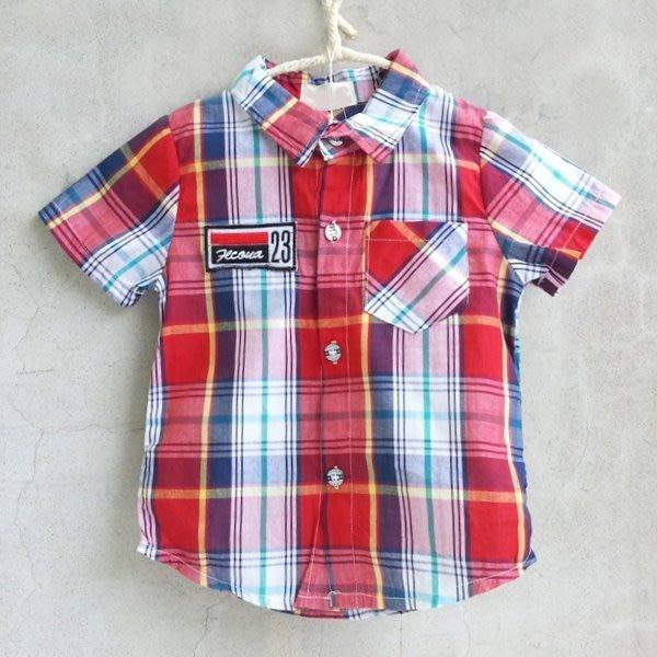 【班比納精品童裝】23方型徽章格紋襯衫-紅【BO150622055】