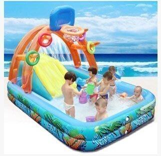 【優上精品】多功能兒童遊戲水池兒童遊泳池充氣城堡帶滑梯電泵+水槍+泳圈(Z-P3087)