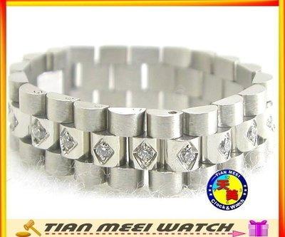 【全新】【天美鐘錶店家直營】【下殺↘超低價】316不鏽鋼戒指-鑲奧地利水晶鑽