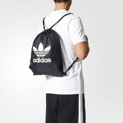 # ADIDAS ORIGINALS TREFOIL GYM 黑色 黑底白字 拉鏈 後背包 束口袋 BK6726 YTS