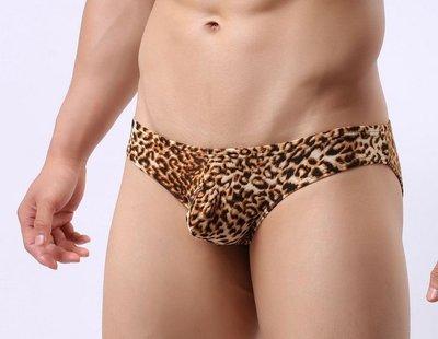 男士豹紋三角褲 激凸 U凸 囊袋 性感 低腰 透氣 三角褲 男三角褲 男士內褲 水晶絨