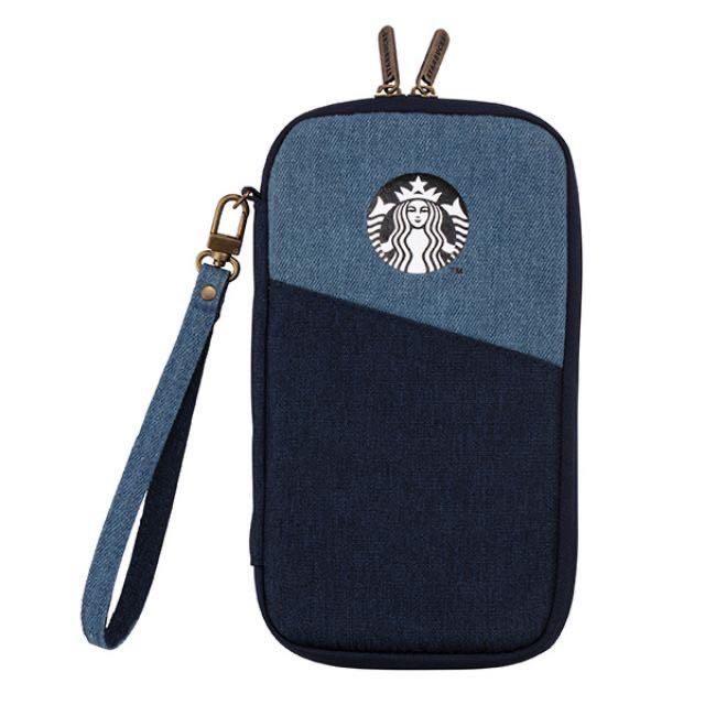 Starbucks 星巴克丹寧拼接護照包—-含運