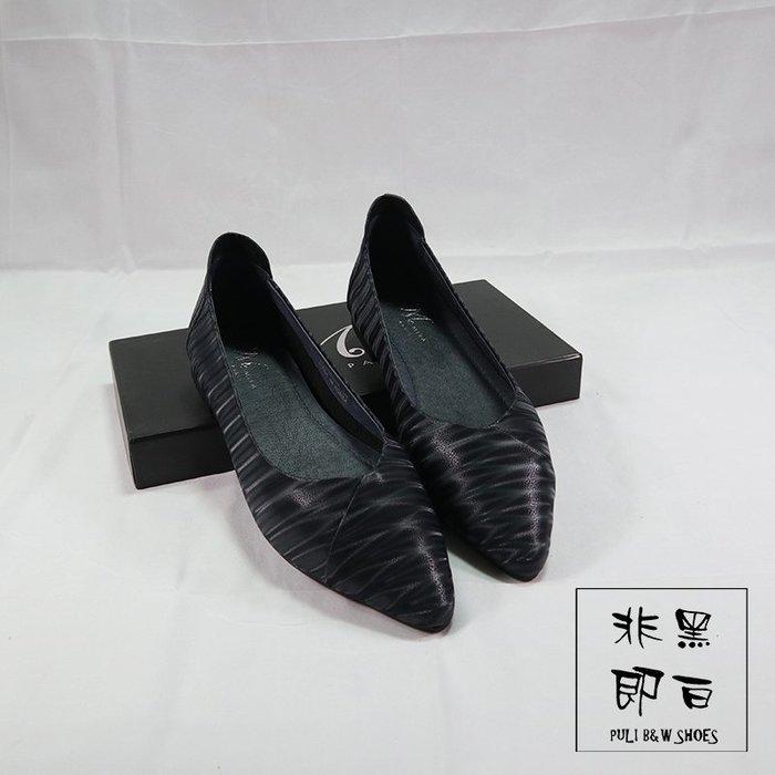 【非黑即白】視覺錯亂之真皮尖頭低跟平底女鞋 藍色 329509