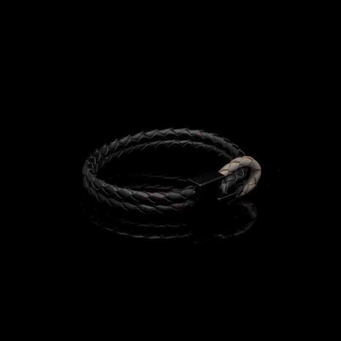美國東村【SOLO】 簡約方扣皮編手環(黑白/咖啡/灰黑/深藍)