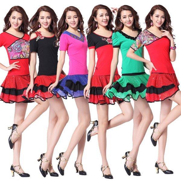 5Cgo【鴿樓】會員有優惠 39711164563 廣場舞服裝套裝中老年短袖上衣跳舞衣服套裙春夏款 成人女練功服
