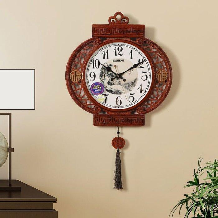 實木新中式鐘表裝飾掛鐘客廳個性時鐘復古時尚創意家用中國風