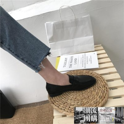 豆豆鞋 ins黑色小皮鞋女英倫風春季百...