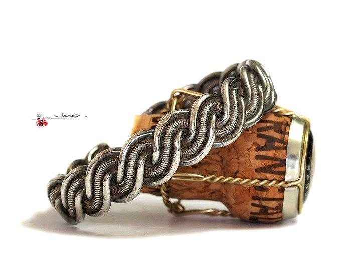 銀囍古董銀飾~老銀手鐲 純銀手鍊 麻花寬版老銀鐲58克 低價優惠給第一標