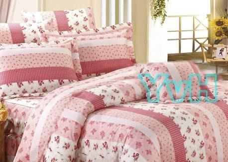 ==YvH==YV台灣製平價精品 9719粉色小玫瑰 貴族花園 單人床包鋪棉兩用被套組 附枕套 100%純棉表布(現貨)