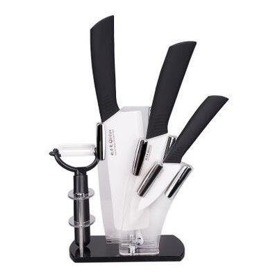 【優上】欽瓷陶瓷刀菜刀套裝 德國五件套 陶瓷切肉刀具 陶瓷水果刀「白色」