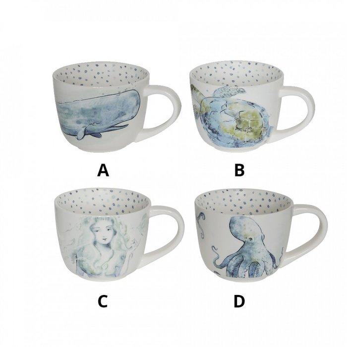 ~誠萍生活傢俱~美式鄉村 色彩 圖案 海洋 海洋生物 陶瓷杯 馬克杯 咖啡杯 濃湯杯 送禮 四款  直購價$199