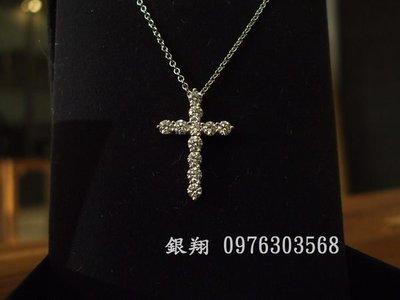 ☆銀翔二手精品☆ TIFFANY & CO. 白K 鑽石 十字架 項鍊