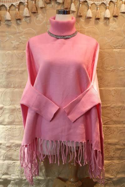【性感貝貝2館】造型款 粉色高領斗篷式流蘇針織上衣