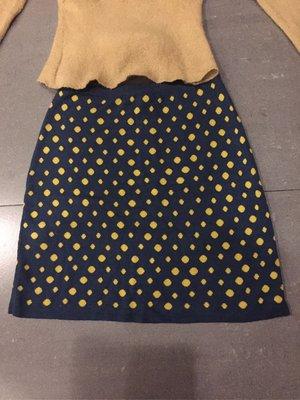 日本SLY針織黄點點藍裙