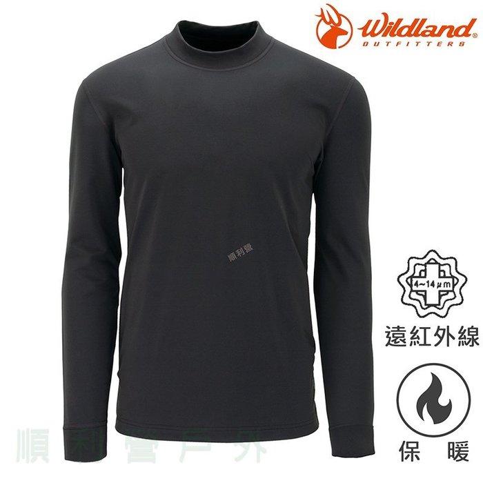 荒野WILDLAND 男款遠紅外線彈性立領保暖衣 W2652 深灰色 衛生衣 發熱衣 內衣 OUTDOOR NICE
