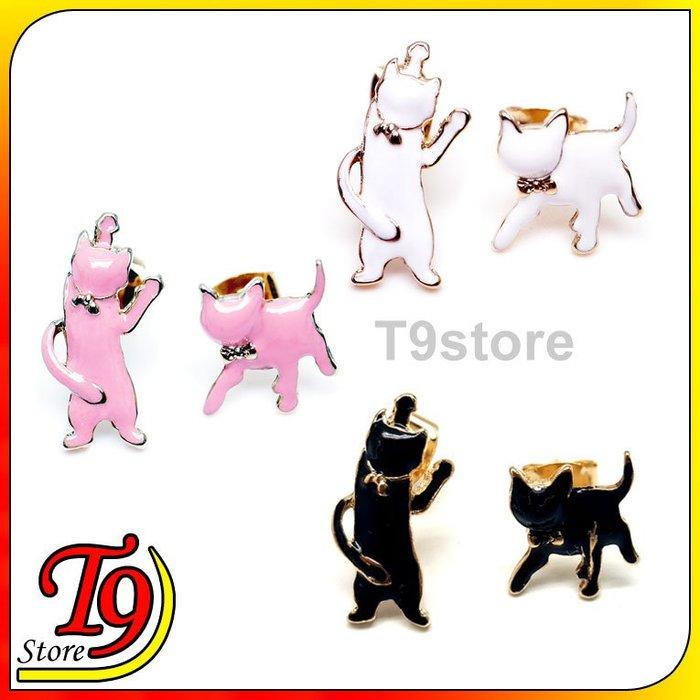 【T9store】韓國製 不對稱顏色的貓貼耳式耳環