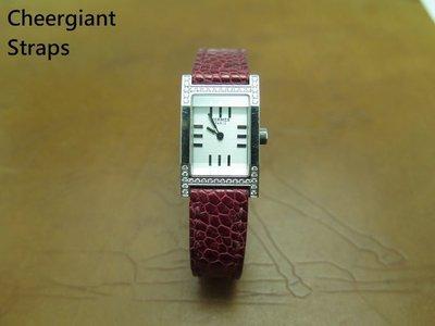 愛馬仕紅色鴕鳥皮錶帶巧將手工錶帶 Hermes red ostrich strap watch band MIT