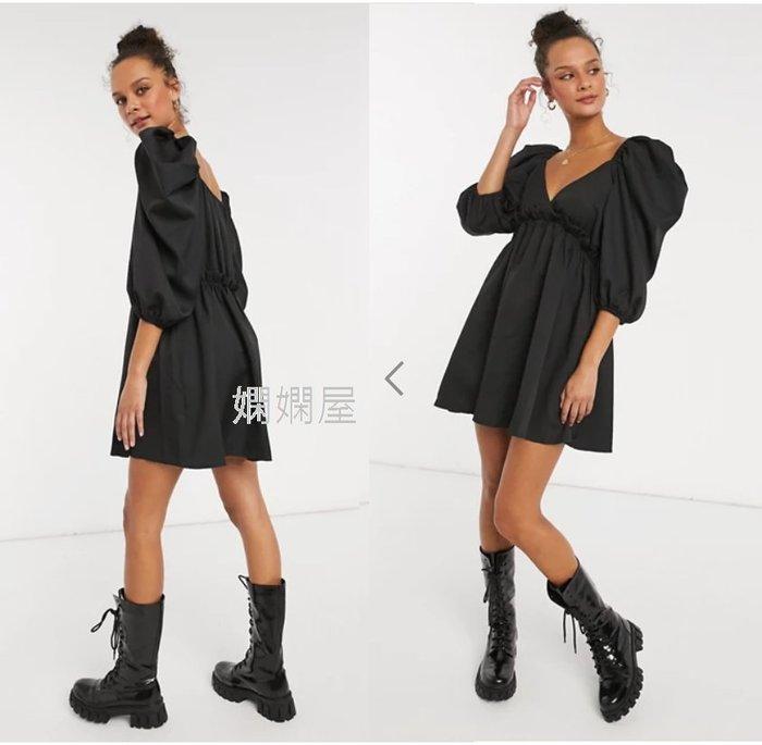 (嫻嫻屋) 英國ASOS-In The Style黑色V領泡泡袖荷葉摺邊高腰洋裝SJ20