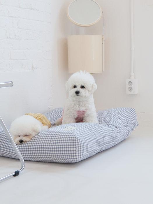 貝果貝果 韓國 DAN 格紋 寵物床墊 L 藍灰色 [H1036]