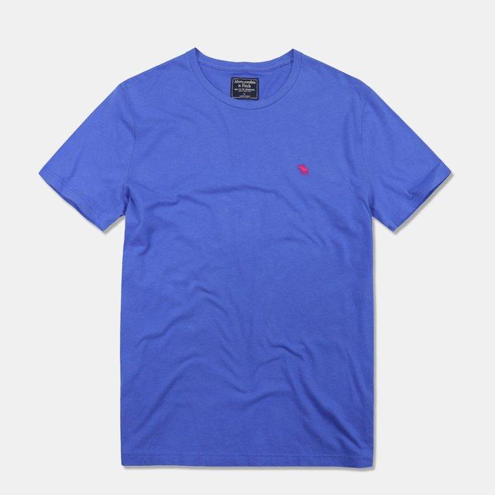 【Abercrombie&Fitch】【A&F】AF男款短袖素T新標款紅小鹿寶藍 F07190704-14