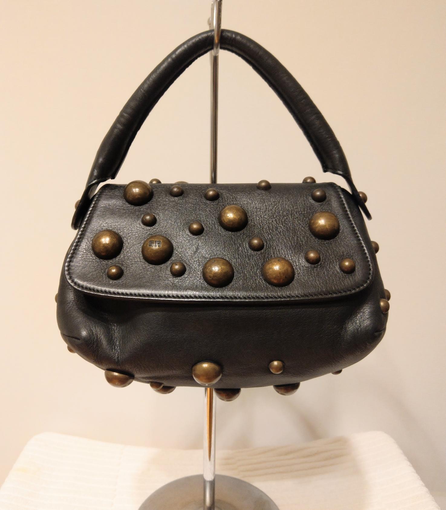 95成新 Sonia Rykiel 桑麗卡 走秀限量款 鑲滿銅球 晚宴包 手提包 皮包