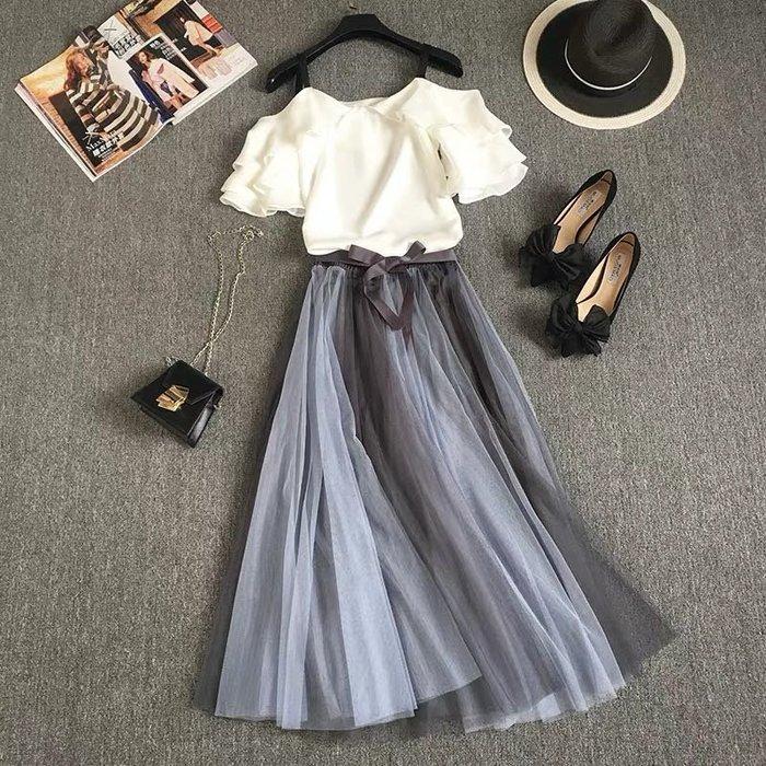 法式優雅兩件式套裝露肩襯衫飄逸網紗裙半身裙