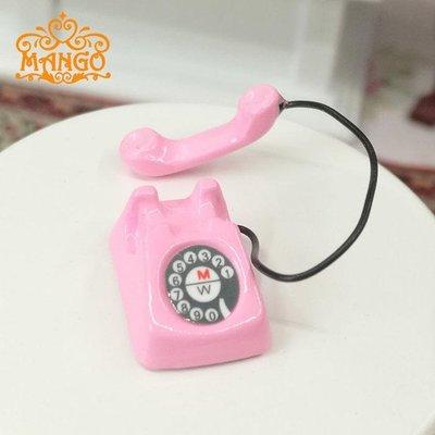 雜貨小鋪 1:12娃娃屋dollhouse迷你客廳場景配件 金屬小電話座機袖珍模型