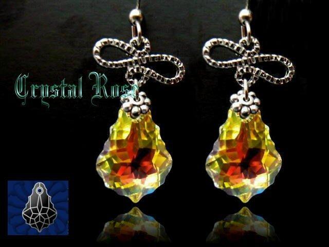 ※水晶玫瑰※ SWAROVSKI 巴洛克水晶 耳勾式耳環(DD139)~僅此一對