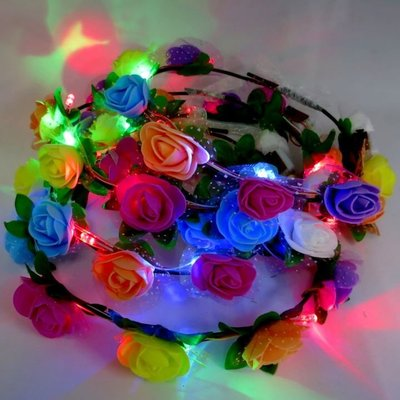 LED 閃光髮飾花環 發光髮飾 螢光棒 聖誕節 演唱會 跨年 尾牙-艾發現