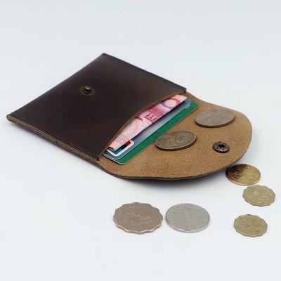 【 純手工製作 小牛皮 迷你錢包 名片夾(包)深棕色 】新品現貨。質感佳、觸感細緻、純牛皮手工製作。耐磨實用,輕巧好攜帶