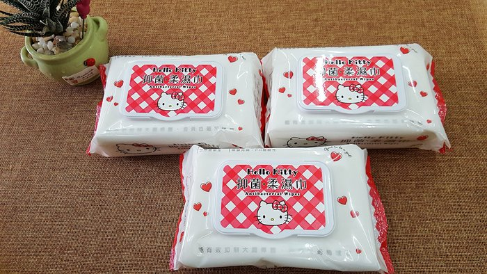 Hello Kitty 三麗鷗 凱蒂貓抗菌柔濕巾/濕紙巾(有蓋) 70 抽 品質佳 促銷價 超優惠 錯過可惜