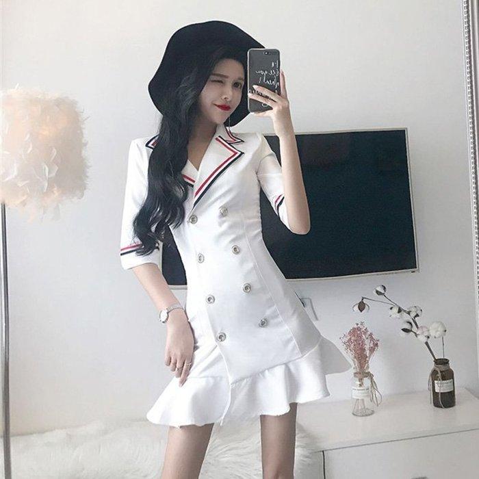 連身裙 洋裝 性感套裝 包臀裙 連衣裙女秋裝氣質性感時尚西裝領雙排扣修身顯瘦魚尾短裙