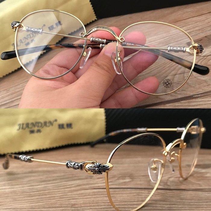 克羅心全框近視眼鏡女金屬文藝圓框眼鏡復古平光鏡眼鏡架女