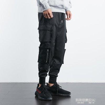 韓版潮流秋冬季國潮工裝褲男潮牌寬鬆嘻哈褲束腳褲chic褲子
